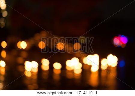 Blurred Lights With Water Reflection For Abstract Or Backgrounds