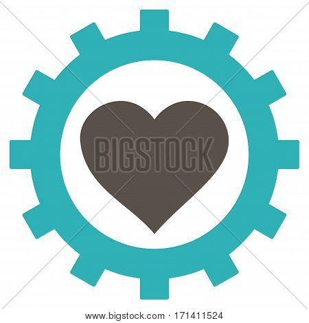Love Heart Options Gear flat icon. Vector bicolor grey and cyan symbol. Pictograph is isolated on a white background. Trendy flat style illustration for web site design logo ads apps