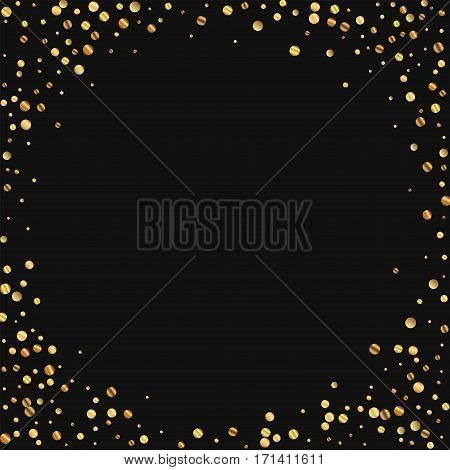 Sparse Gold Confetti. Corner Frame On Black Background. Vector Illustration.
