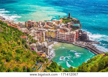 Beautiful aerial view of the scenic town of Vernazza one of the five famous fisherman villages of Cinque Terre Liguria Italy