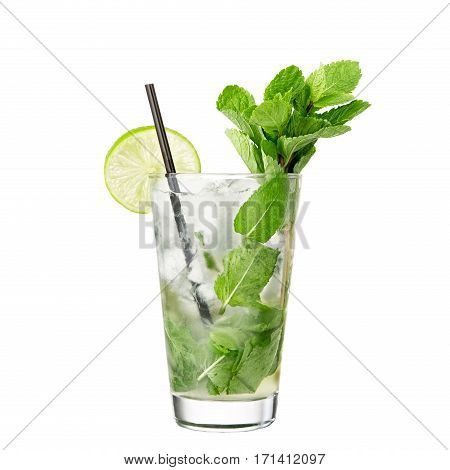 classic alcohol cocktail mojito isolated on white background