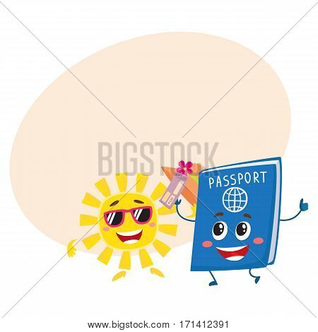 Summer sun and traveler passport characters, holiday, vacation concept, cartoon vector illustration with place for text. Smiling sun and happy passport funny characters, mascots