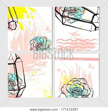 Hand drawn vector abstract save the Date greeting card collection set templates with succulent plant in terrarium and freehand texture in pastel colors.Design for weddingjournalingscrapbooking