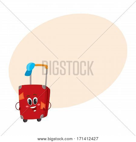 Cute and funny big red suitcase character with many labels, travelling concept, cartoon vector illustration with place for text. Traveler suitcase character, mascot, holiday, vacation symbol