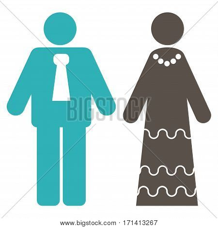 Newlyweds flat icon. Vector bicolor grey and cyan symbol. Pictogram is isolated on a white background. Trendy flat style illustration for web site design logo ads apps user interface.