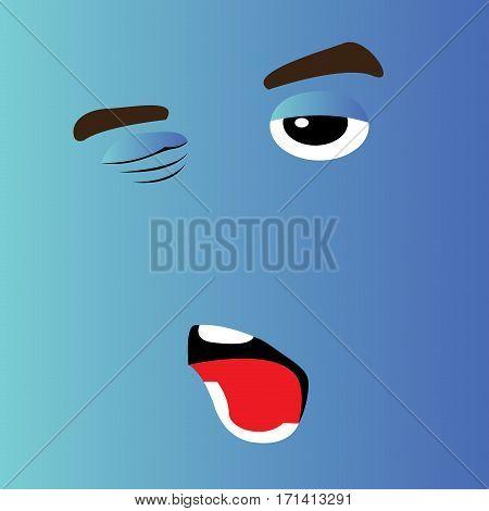 Sleepy cartoon facial expression design, Vector illustration