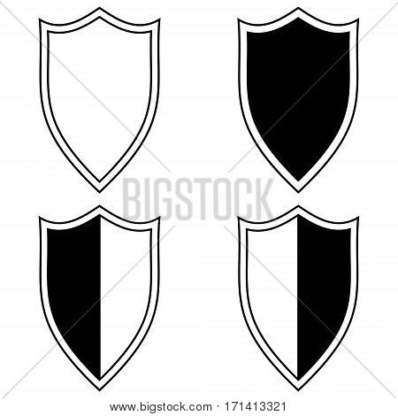Set the shield icon, a symbol of safety and protection in the network, the Internet, vector pattern element of the logo of the personal data protection system