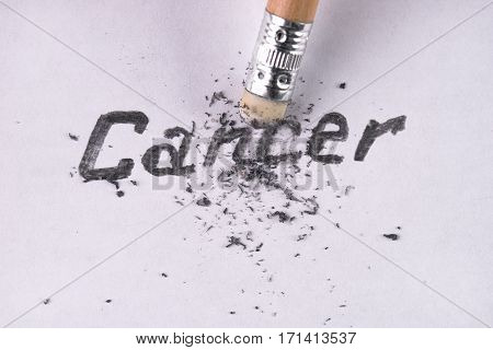 Cancer word removing with pencil eraser. Healthcare and medicine concept