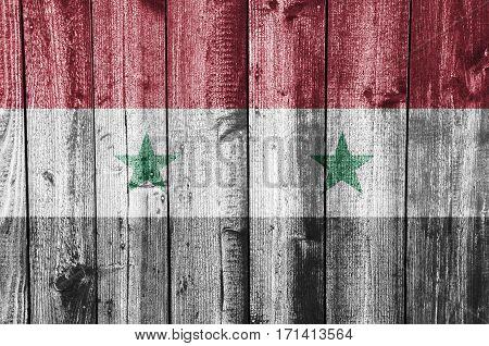 Flag Of Syria On Weathered Wood