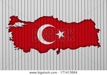 Map And Flag Of Turkey On Corrugated Iron