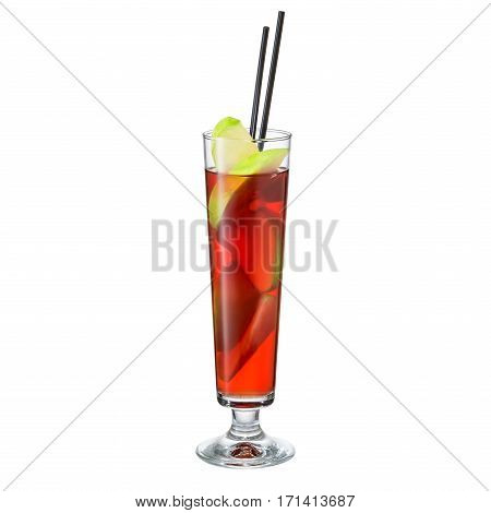 Apple punch in a Collins glass  alcohol cocktail isolated on white background