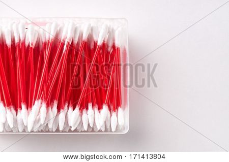 Cotton swabs ear sticks on white .