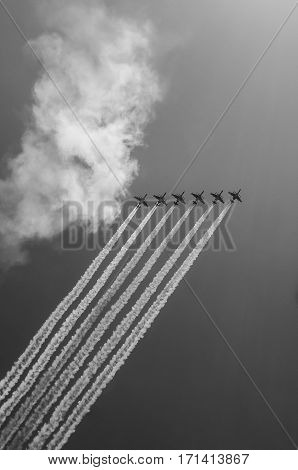 Fighter Squadron on parade in Moscow 2016 black-and-white