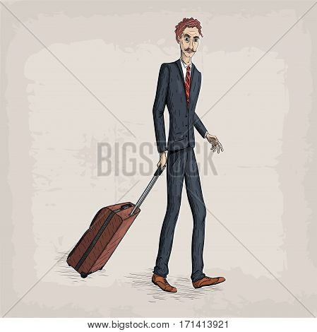 Men male person human people in suit jacket shoes tie hold travel case bag in hand business. Vector retro vintage close-up beautiful vertical illustration sign signboard