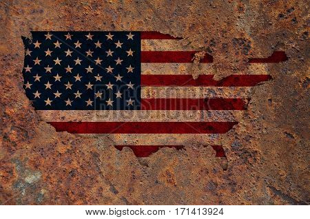 Map And Flag Of The Usa On Rusty Metal