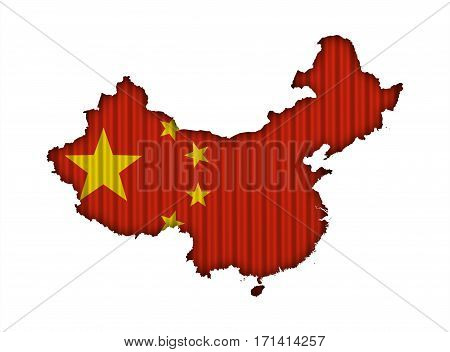 Map And Flag Of China On Corrugated Iron