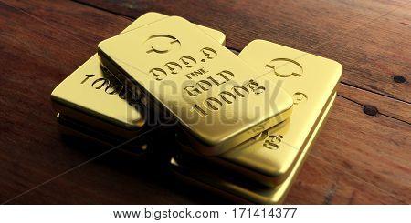 Gold Bullion Bars On Wooden Background. 3D Illustration
