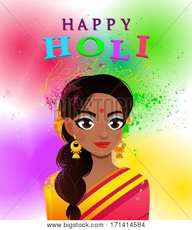Beautiful young Indian woman in a sari on the background of colorful gulal, powder color. Colorful card background Holiday of spring.