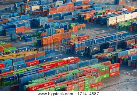 Barcelona Spain - January 07 2017: The containers at the port of Barcelona view from Montjuic hill