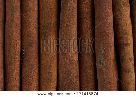Stacked Cinnamon sticks . Close up shot .