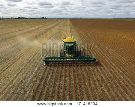 Aerial View of Harvesting Agricultural Crops with a Drone
