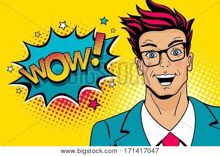 Wow pop art male face. Young sexy surprised man in glasses with open mouth and Wow speech bubble with stars. Vector colorful illustration in retro comic style. Party invitation poster.