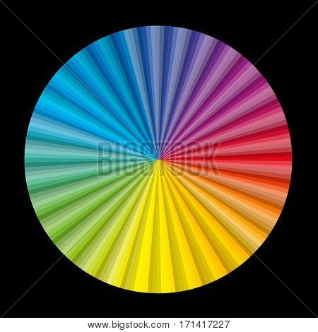 Circular color gradient fan chart on black background - vector illustration.