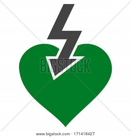 Heart Shock Strike flat icon. Vector bicolor green and gray symbol. Pictogram is isolated on a white background. Trendy flat style illustration for web site design logo ads apps user interface.