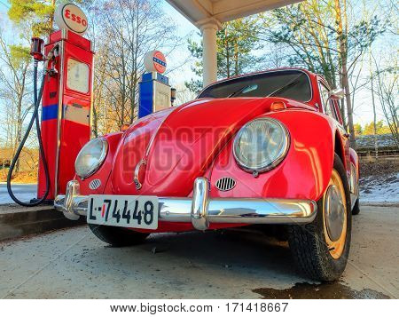 Bygdøy Norway - February 23 2016: Beetle at a gas station in the Folk museum in Oslo Norway