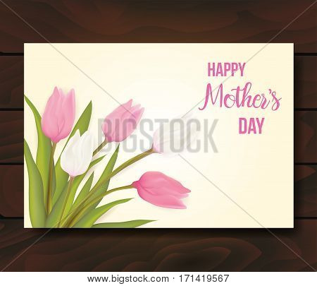 Greeting Card With Tulip Flowers