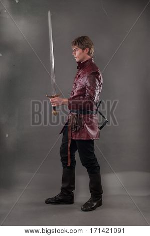Medieval Knight With A Sword. Middle Age Warrior