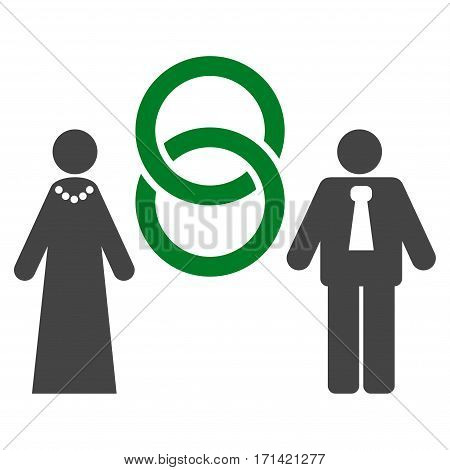 Marriage Persons flat icon. Vector bicolor green and gray symbol. Pictogram is isolated on a white background. Trendy flat style illustration for web site design, logo, ads, apps, user interface.