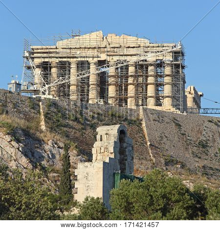 Archaeological Construction at Parthenon Temple and Acropolis of Athens