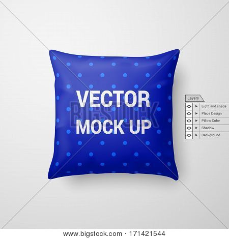 Mock Up of a Blue Pillow Isolated on White Background