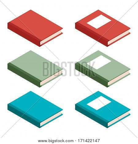 Vector image of the Set of books isometric icons