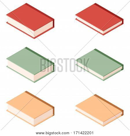 Vector image of the Set of books isometric icons2