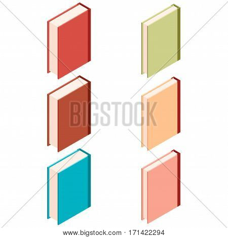 Vector image of the Set of books isometric icons4