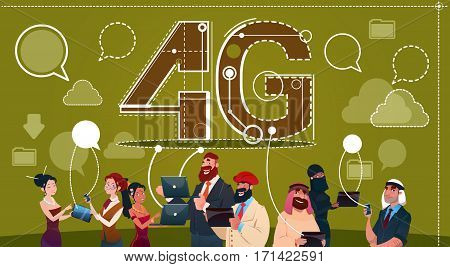Mix Race People Group Using Gadgets Chat Social Network Communication 4g Internet Speed Concept Flat Vector Illustration