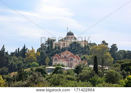 Church Agia Marina and National Observatory on the Hill of Nymphis in Athens