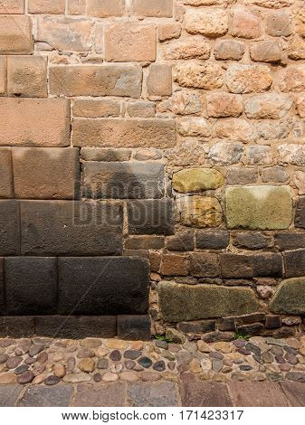 Inca and spanish wall in Cuzco, Peru