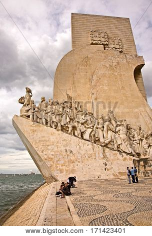 Discoveries Monument is dedicated to Prince Henry the Navigator. Includes 32 other discoverers. Elevator can be taken to the top of the monument for views of the Tagus river. Photo taken April 2009.