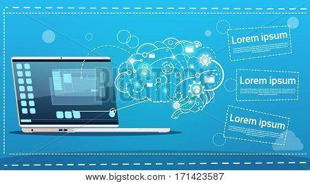 Laptop Computer Brainstorming Briefing Idea Creative Concept Business Banner Flat Vector Illustration