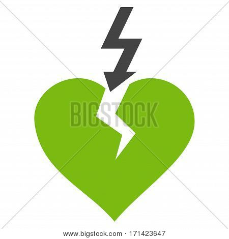 Break Heart flat icon. Vector bicolor light green and gray symbol. Pictogram is isolated on a white background. Trendy flat style illustration for web site design, logo, ads, apps, user interface.