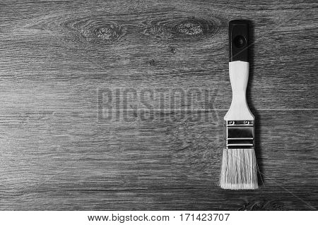 Black and white art photography monochrome paintbrush on wood table