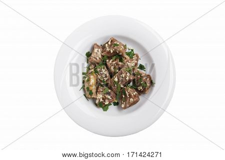 boiled meat with herbs and garlic khashlama traditional Georgian dish white background top view isolated