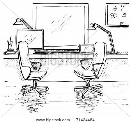 Sketch the room. Two office chairs desk various objects on the table. Sketch workspace. Desk facing the window. Vector illustration
