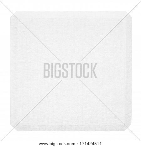 White wooden block isolated on white background. Flat lay