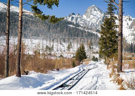 Empty railwazys ifrom Stary Smokovec to Hrebienok n High Tatras mountains Slovakia