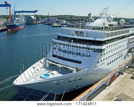 Kiel, Germany - May 30, 2009: The cruise ship MSC Opera from MSC Cruises has moored at the cruise terminal Ostseekai in Kiel.