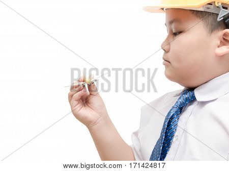 Airplane In Hand Young Engineer Pilot Isolated